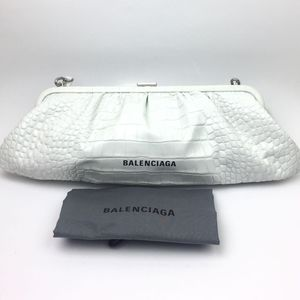 BALENCIAGA Extra Large Cloud Croc Embossed Leather Clutch